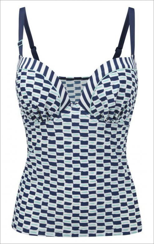 Tankini Cleo LUCILLE CW0061 Moulded Plunge Nautical Print